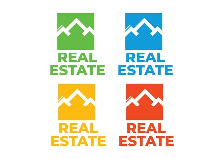 Real estate house linear logos, emblems set. Real Estate, Building and Construction Logo Vector Design