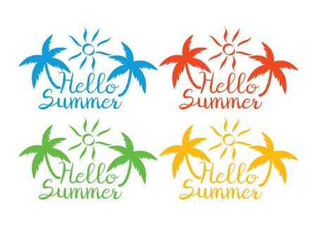 Summer logotypes. Summer vintage design logos. Beach party logo