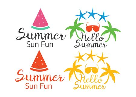 Vector summer season labels in vintage style. Beach logos and icons element