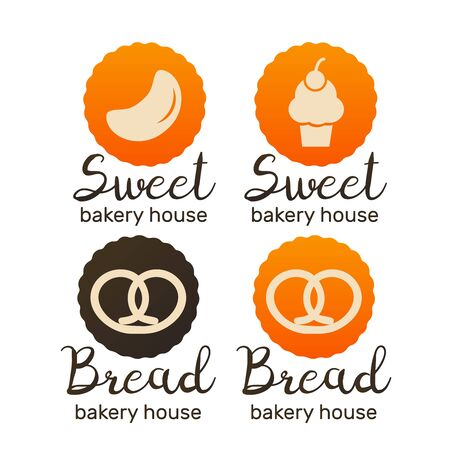 Bakery and pastries vector labels, badges and logo. Bakery and bread shop logos Çizim