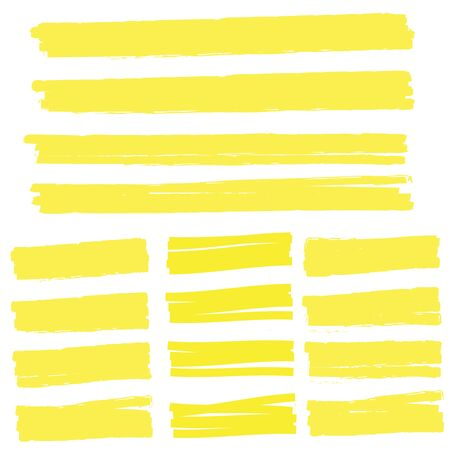 Highlight yellow strokes. Highlight marker stroke. Marker pen highlight