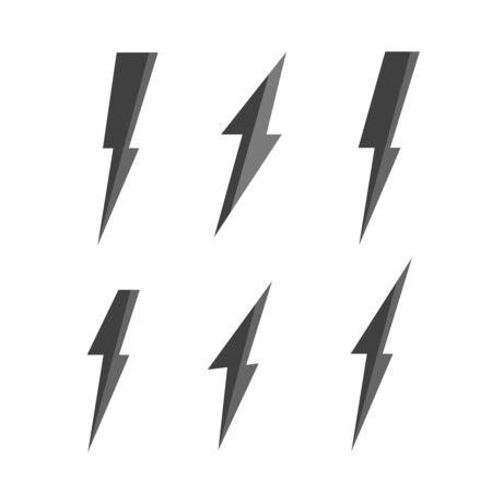 Conjunto de vector de relámpago. Icono de perno y rayo. Logotipo de perno Logos