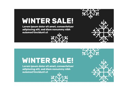 Winter banners of set vector templates with snowflakes. Winter flyer template with snowflakes