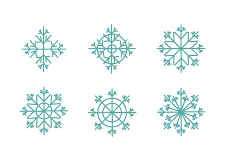 Colorful vector snowflakes of collection isolated. Bright snowflakes vector set