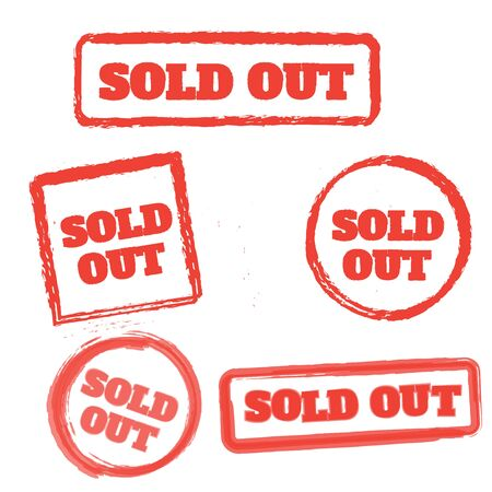 red sold stamp logo. Sold out stamps grunge. Sold out badge Logo