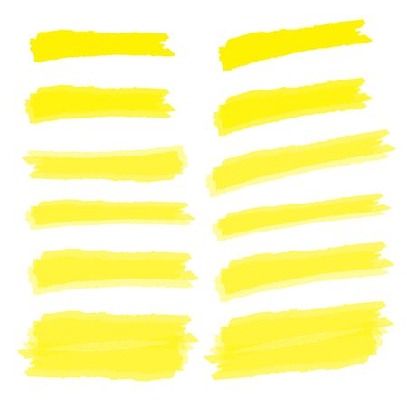 Marker marks. Yellow marker text selection vector Ilustracja