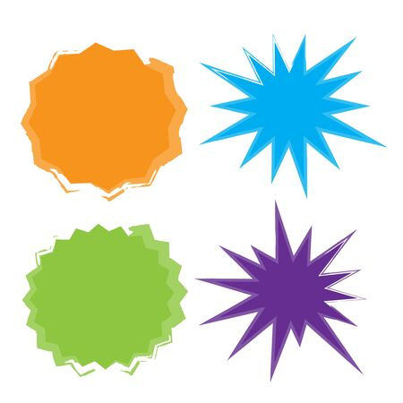 Vector Starburst set. Starburst explosion comic shapes. Speech boom bubble  イラスト・ベクター素材