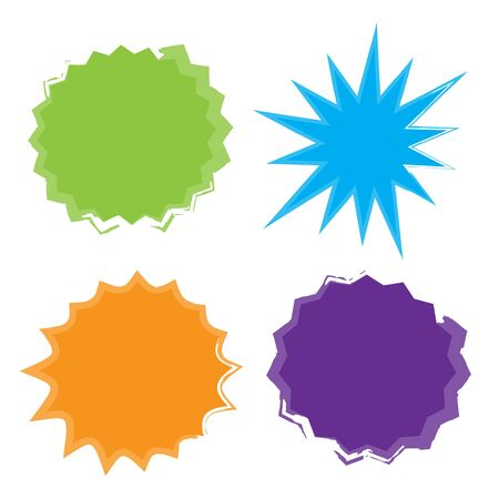 Starburst isolated icons set. Starburst explosion comic shapes. Speech boom bubble  イラスト・ベクター素材