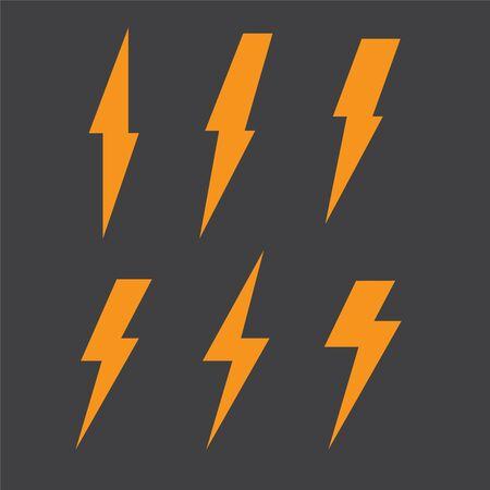 Set di icone di illuminazione a bullone. Icone di illustrazione vettoriale