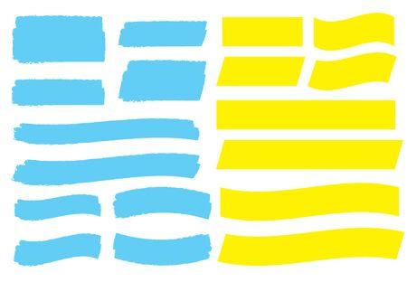 Yellow highlight marker lines. Highlighter strokes and pen brush vector 向量圖像