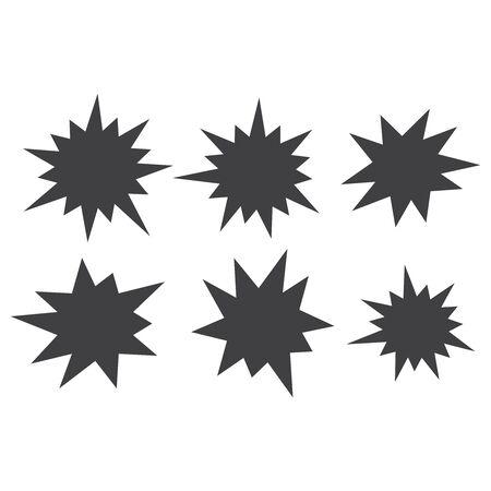 Vektor-Starburst-Set. Komische Formen der Starburst-Explosion. Speech Boom Blase