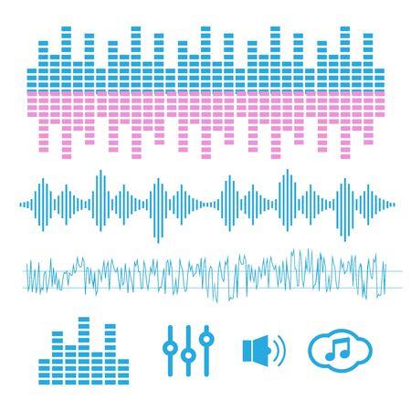 Vector sound waves. Equalizer technology. Radio wave vector Vector Illustration