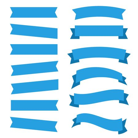 Flat vector ribbons banners isolated. Ribbons banners Çizim