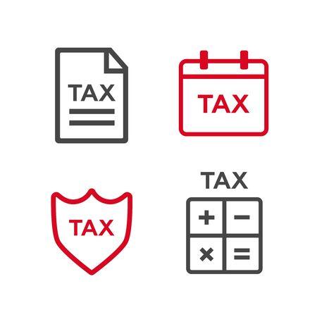 Line tax icons. Tax money, finance tax business, document tax. Vector illustration Çizim