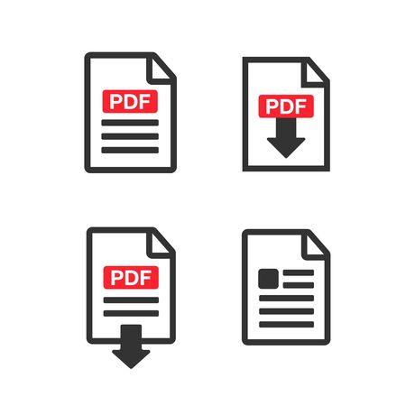 PDF Document icon set. File Icons. PDF file download icon Çizim