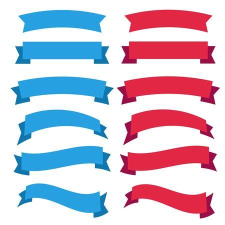 Flat vector ribbons banners flat. Banner ribbon vector set