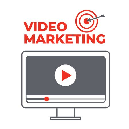 Video marketing. Abstract vector concept background. Goal and target, aim and camera, optimization marketing Çizim