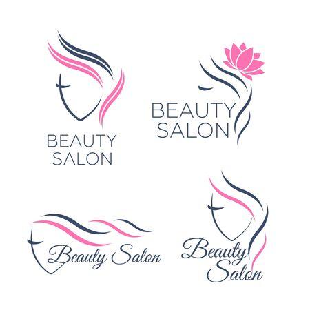 Beautiful woman vector logo template for hair salon, beauty salon, cosmetic procedures, spa center. Beauty logo for hair salon Çizim
