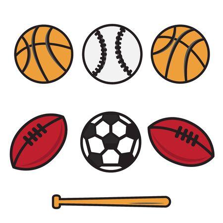 Sports balls. cartoon ball set for soccer, rugby. Basketball and football balls Çizim