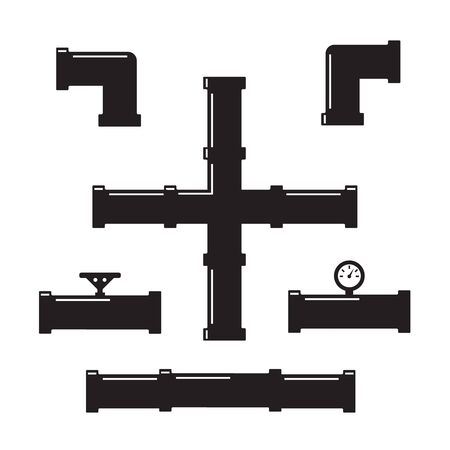 Water pipes and taps vector silhouette. Pipe fittings vector icons set Çizim
