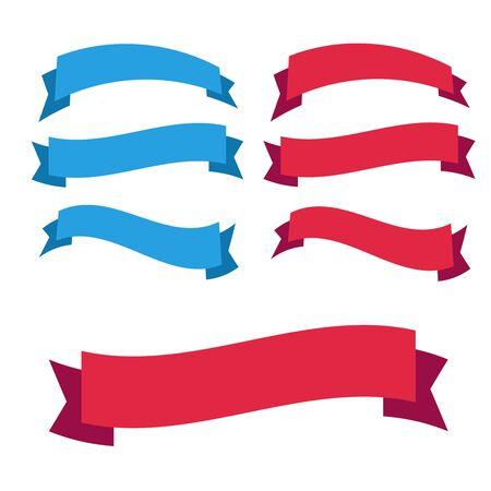 Glossy red ribbon vector. Banner ribbon vector set
