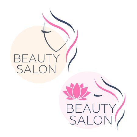 Beautiful woman face logo template for hair salon. Logo hair template Çizim