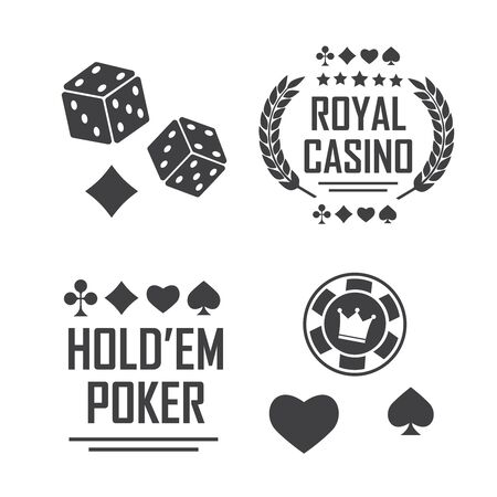 Lucky seven jackpot. Poker club and casino vector sign set Çizim