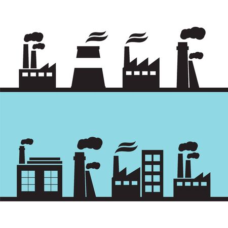 Set of industry manufactory building icons. Plant and factory, power and smoke, oil and energy
