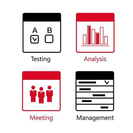 SEO Usability vector icons set. Analysis icons set