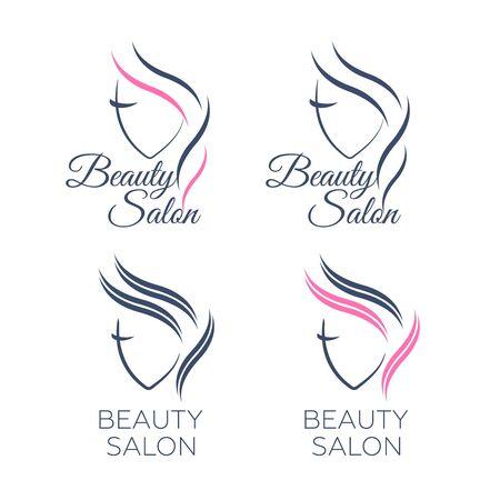 Beautiful woman face logo template for hair salon vector