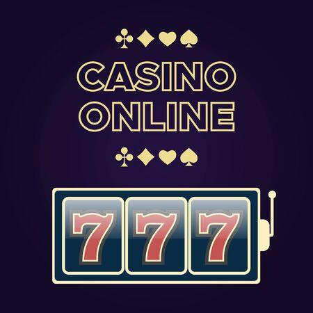 Casino vector sign set. Slot machine symbols. Lucky seven vector