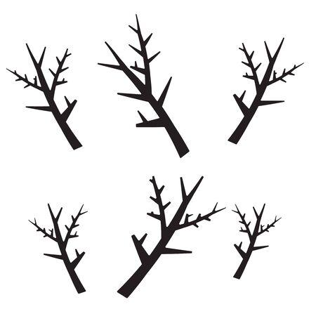 Rami degli alberi impostati in stile disegnato a mano. Pianta silhouette, contorno in legno, decorazione ramoscello.