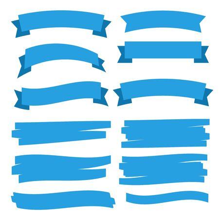 Glossy waving ribbon banners labels. Banner ribbon vector set