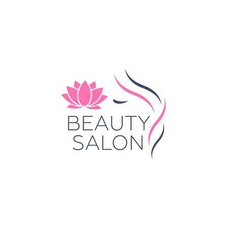 Modello di logo di vettore di bella donna per parrucchiere. Procedure cosmetiche di logo vettoriale, centro benessere