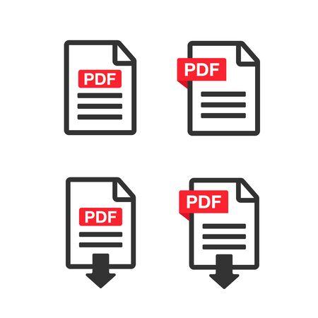 PDF File Icons. Document icon set. File Icons line style illustration Çizim