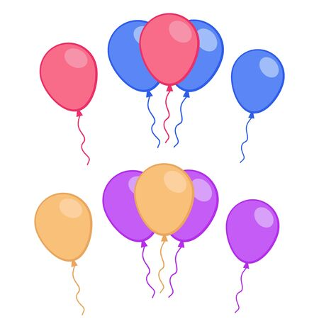 Celebratory balloons on isolated transparent background. Air balloon vector