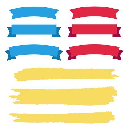 Vector Ribbon Set on white background. Banner ribbon vector set Çizim