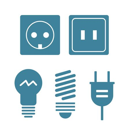 Lamp and bulbs black icons set. Electrical symbols. Bulb energy, electric lamp icon