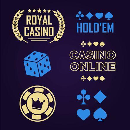 Lucky seven jackpot. Casino vector sign set. Poker club logo