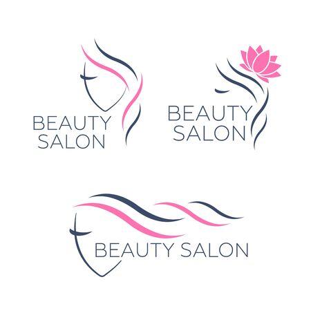 Modèle de logo vectoriel pour salon de coiffure. Vecteur de cheveux logo