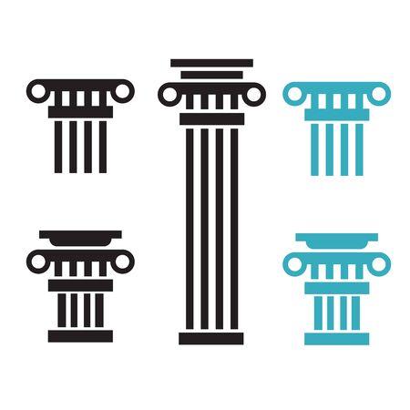 Greek and roman pillar. Outline vector pillar illustration. Architecture greek column icon Çizim