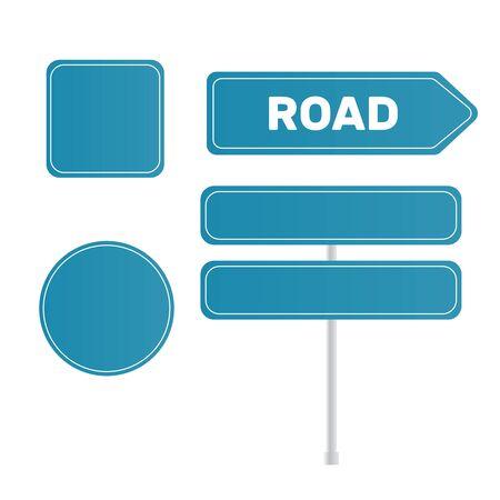 Blank traffic road sign. Sign street. Arrow blank sign Çizim