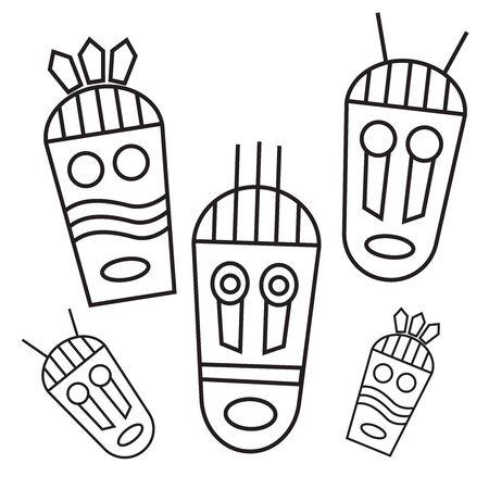 Ethnic masks tribal masks flat icons. Aborigine Africa avatar