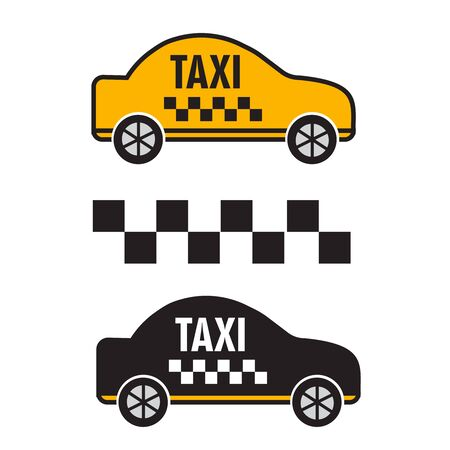 Taxicab transport, yellow car poster illustration. Company taxi