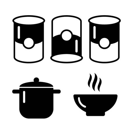 Soup dish isolated icon. Soup icons vector set Stock Illustratie
