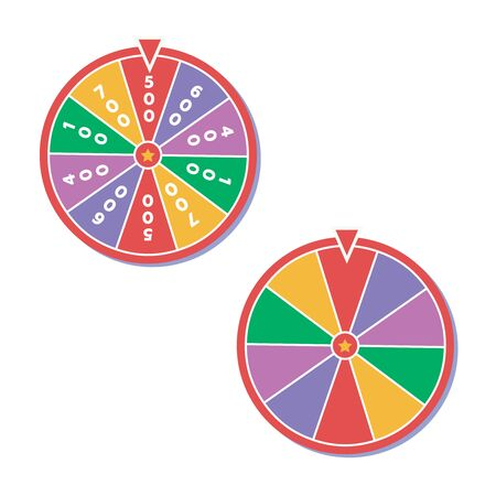 Wheel of fortune vector illustration. Wheel of fortune logo Çizim