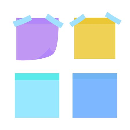 Multicolor notes isolated. Colored sheets of note papers vector illustration