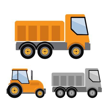 Tipper truck illustration in flat style icon Çizim