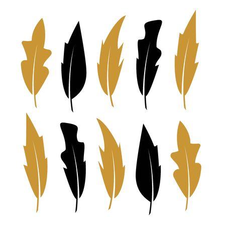 Feathers icons vector. Black vintage feather set Çizim