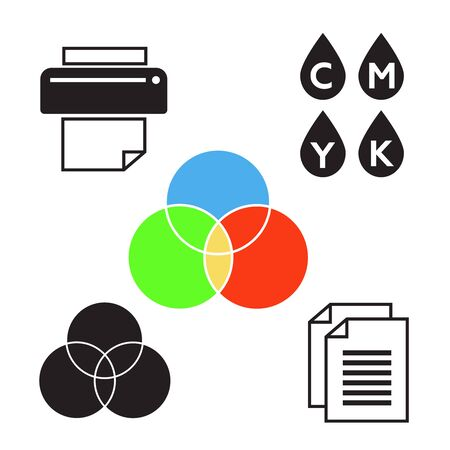 Printing icons. Palette and printer set. Printing colorful sign Ilustracja